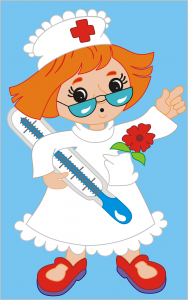 cartoon image of female nurse with oversized thermometer.